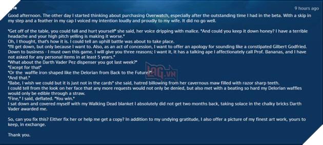 Lá thư mà Kyle gửi tới bộ phận hỗ trợ Blizzard để xin key Overwatch chùa.