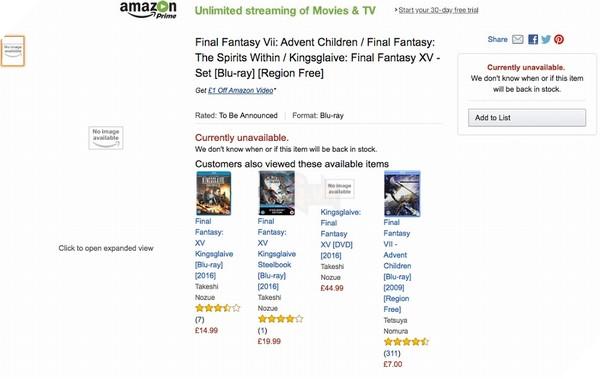 """Danh sách phim Final Fantasy bản Blu-Ray """"lên kệ"""" Amazon"""
