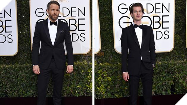 Ryan Reynolds (Trái) và Andrew Garfield (Phải) tại lễ trao giải Quả Cầu Vàng
