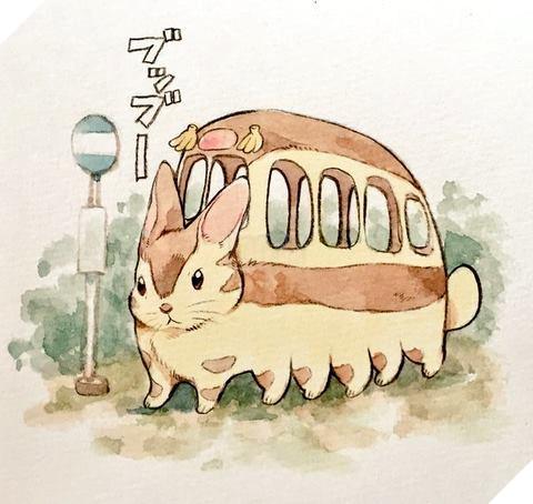 Xe buýt mèo trong phiên bản thỏ cũng chả khác là mấy (Hàng xóm của tôi là Totoro).