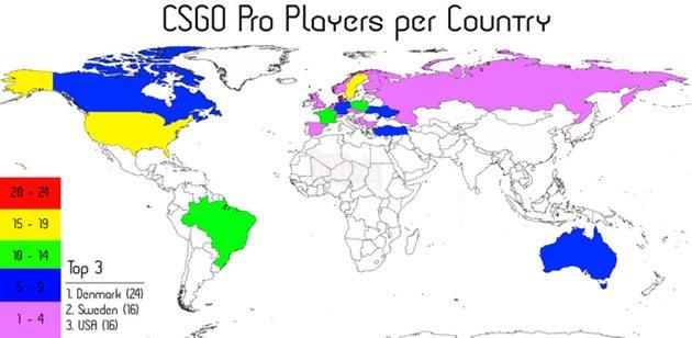 Bản đồ thể hiện sự phân bố các game thủ chuyên nghiệp CS:GO (trong top 30 team) theo từng quốc gia