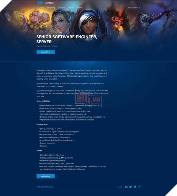 Thông tin tuyển dụng kĩ sư phần mềm của Blizzard
