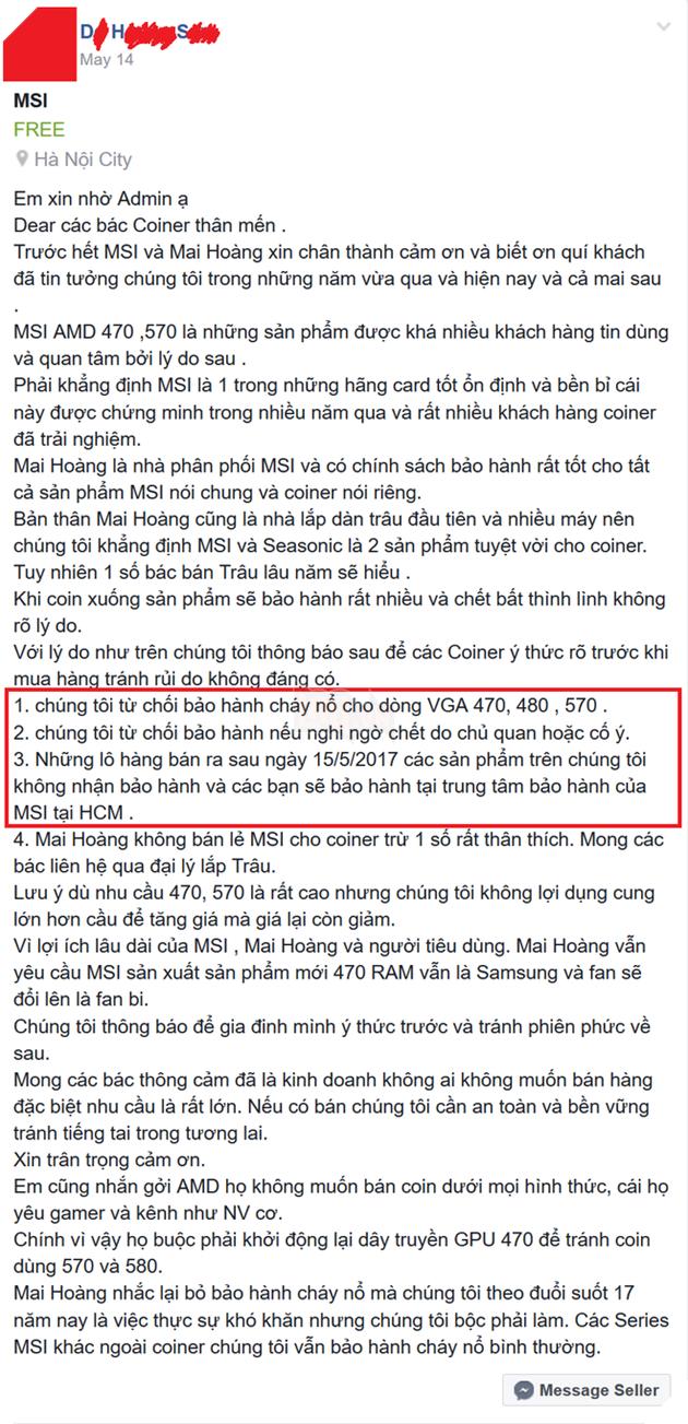 """Nhà phân phối Hà Nội từ chối bảo hành card đồ họa """"cày coin"""", muốn bảo hành phải mang đến TP.HCM"""