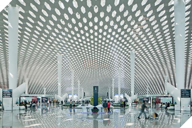 Trần của sảnh chính sân bay được lợp thông qua hệ kết cấu vòm không gian khổng lồ. Cấu trúc mạng tổ ong được áp dụng để ánh sáng nhân tạo và tự nhiên luôn được cung cấp đầy đủ cho không gian bên trong