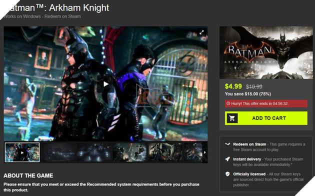 Nhanh tay sở hữu Batman: Arkham Knight - Game hay nhất về Người Dơi đang được bán với giá chỉ bằng cốc trà sữa 100k