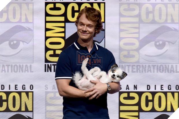 Theon Greyjoy của Alfie Allen thì đem hẳn một em cún tên là Abby cho ngồi vào lòng