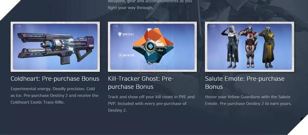 Bộ ba phần thưởng Bonus cho người đặt mua trước gameDestiny 2