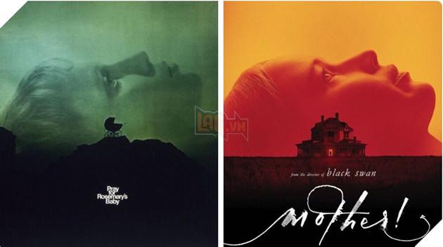 """Một poster thể hiện sự tương đồng giữa """"Mother!""""và""""Rosemary's Baby""""."""