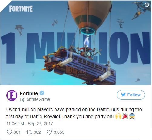 Fortnite: Battle Royale thiết lập thành tích siêu khủng: 1 triệu lượt chơi trong 24 giờ đầu tiên