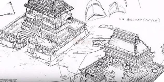 Hình vẽ phác thảo các công trình trong game Đế chế.