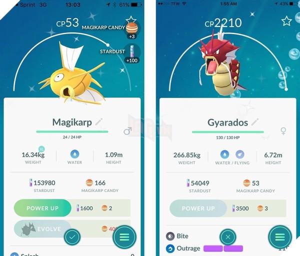 Magikarp và Gyarados phiên bản Shiny