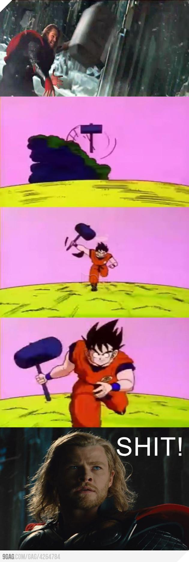 Vẻ mặt của Thor khi Goku cầm được Mjolnir