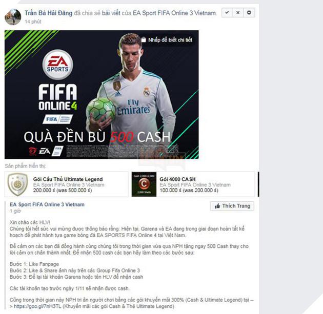 CẢNH BÁO: Quà đền bù 500 Cash khi FIFA Online 4 ra mắt là chiêu trò lừa đảo