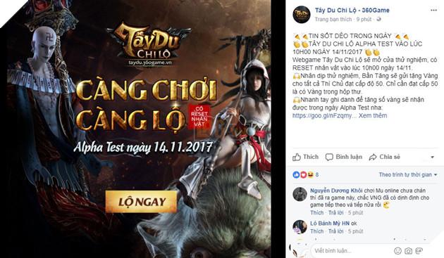 Fanpage đã thông báo thời gian thử nghiệm của tây du chi lộ