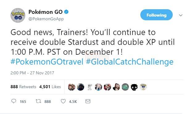 Thông tin về việcPokemon GO kéo dài thời gian nhân đôi kinh nghiệm và bụi sao