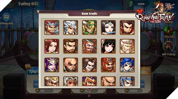 Lưu ý: Người chơi có thể kiếm được 3 vị tướng trên thông qua Tướng Đài