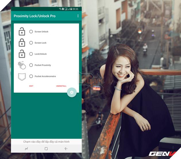 Bước 3: Giao diện thao tác chính của Proximity Lock/Unlock Pro xuất hiện. Ở đây bạn sẽ được cung cấp một danh sách các chức năng khi tác động vào cảm biến trên màn hình smartphone Android. Bao gồm Screen Unlock (mở khóa màn hình), Screen Lock (khóa màn hình), Lock/Unlock (khóa/mở khóa màn hình thông qua thao tác lướt tay qua màn hình thiết bị), Pocket Proximity (khóa/mở khóa màn hình khi có vật gì đó đè lên màn hình) và Pocket Accelerometre (khóa thiết bị khi bỏ vào túi và tự mở khóa khi người dùng lấy từ túi ra, sử dụng cảm biến gia tốc).