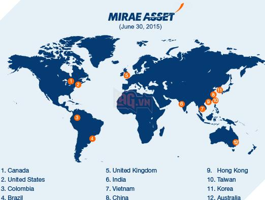 Vùng phủ sóng của Mirae Asset Group (tính đến năm 2015)