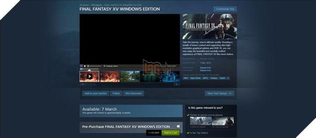 Giá chính thức củaFinal Fantasy XVlà 1.135.000VNĐ