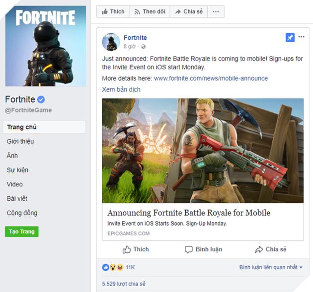 Sau thành công trên PC, Fortnite Battle Royale bắt đầu lấn sân sang nền tảng di động