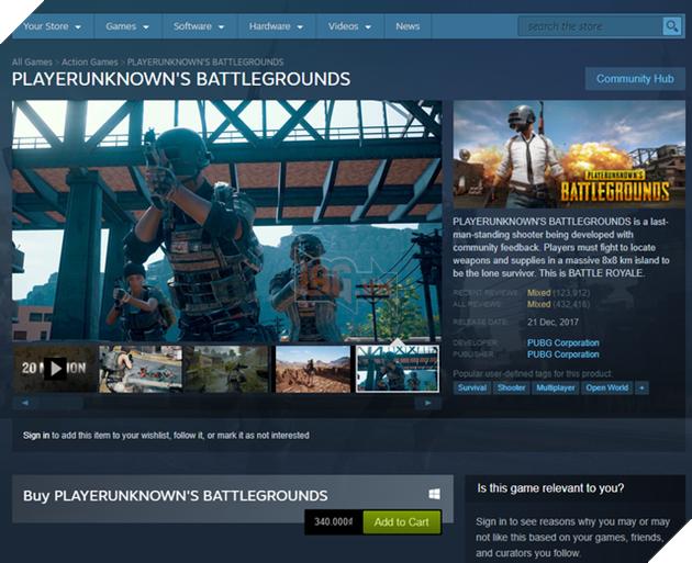 PUBG trở thành tựa game có doanh thu cao thứ ba trên Steam