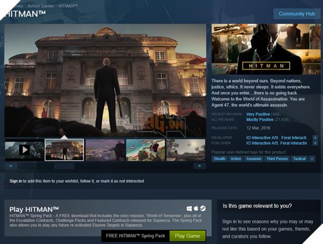 Hitman – Spring Pack đang được tặng miễn phí trên Steam, một click nhận game AAA vĩnh viễn