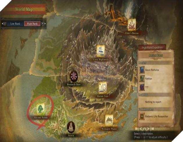 Bản  đồ sẽ cho bạn biết khu vực mà Deviljho đang ở - Ancient Forest