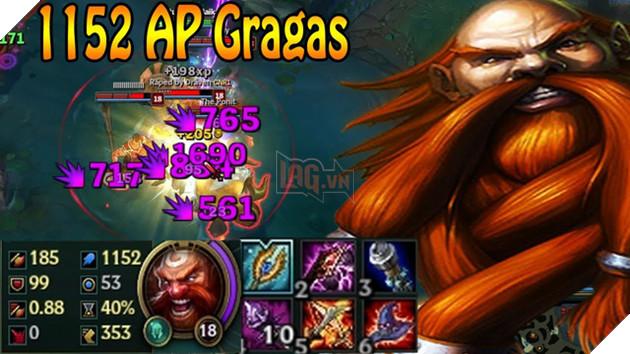 Gragas AP rất mạnh nhưng lại thiếu đi sát thương duy trì nên chỉ combo chết 1 người.