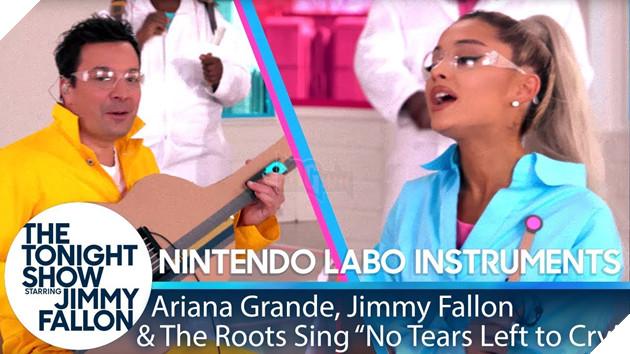 "Kết quả hình ảnh cho Ariana Grande, Jimmy & The Roots Sing ""No Tears Left to Cry"" w/ Nintendo Labo Instruments"