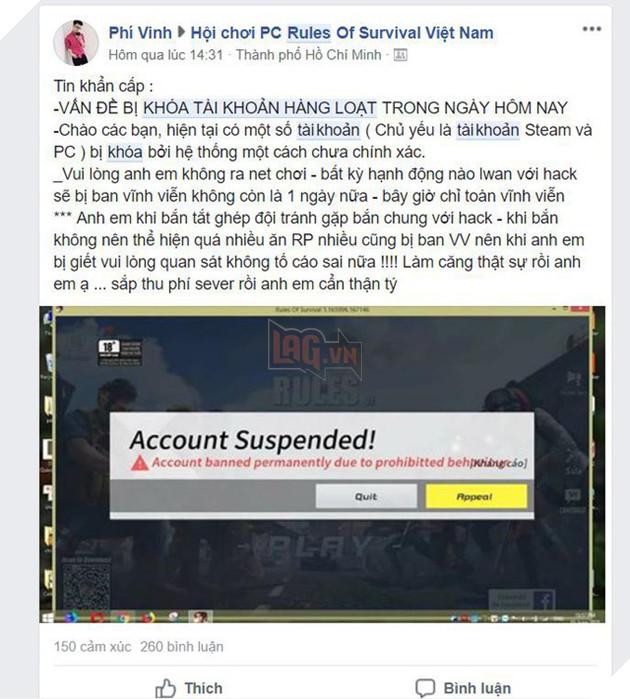 Để tránh bị khóa oan account, game thủ Rules of Survival phải truyền nhau những mẹo hạn chế thực hiện.