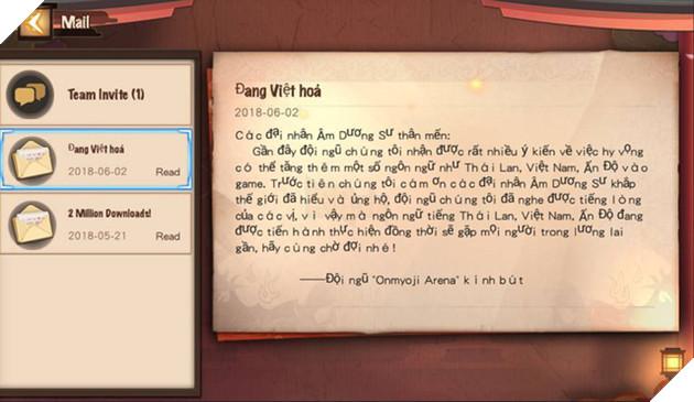 Một lá thư được đội ngũ Onmyoji Arena gửi tới account game thủ có IP Việt Nam đang gây sốt cả cộng đồng.