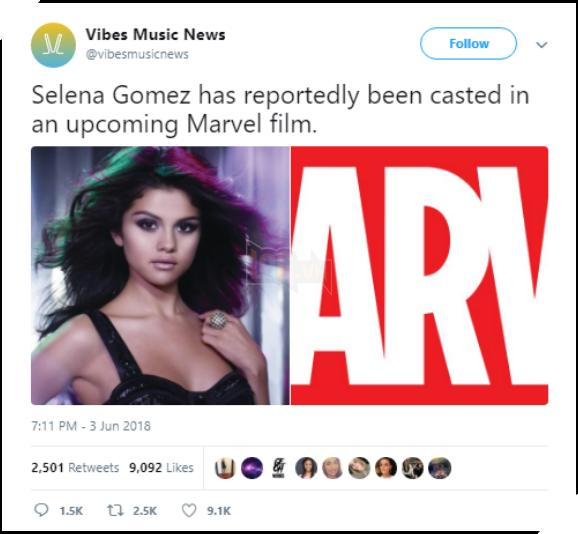 Tung tin thất thiệt Selena Gomez đóng phim Marvel, tài khoản Twitter nhận cái kết bất ngờ