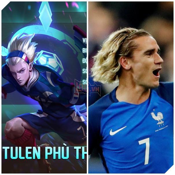 Tulen có trang phục cầu thủ màu xanh với số áo thi đấu là số 7, tương đồng với siêu sao A.Griezmann của tuyển Pháp.