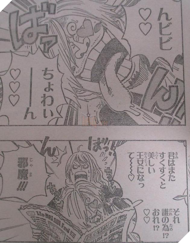 Nami nổi giận vì cô không thể đọc tiếp tờ báo vì Sanji đã nhanh tay cắt hình trên báo của mấy nàng công chúa...