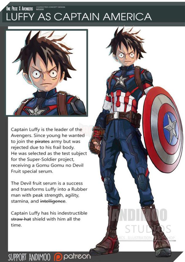 """Luffy nếu trở thành Captain America sẽ """"ngầu"""" lắm đây."""
