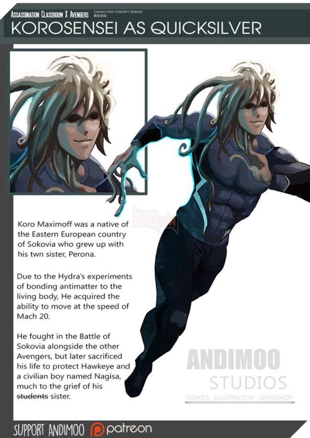 Korosensei sẽ hợp với siêu anh hùng Quicksilver.