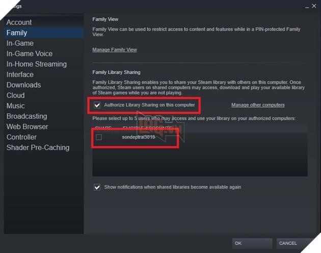 Hướng dẫn sử dụng tính năng chia sẻ thư viện game Steam Family Sharing 5