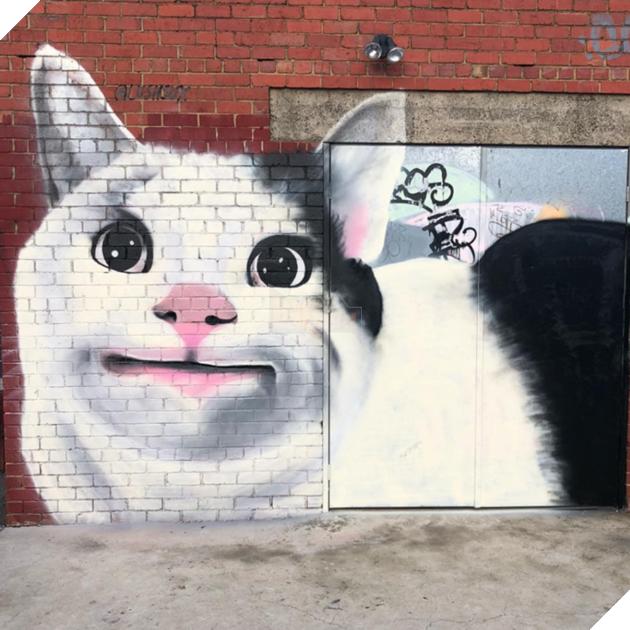Thậm chí người ta còn vẽ hình chú mèo Ollie lên tường nữa nè.