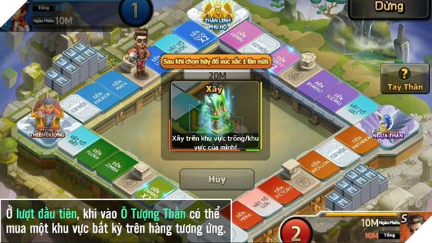 Khi đến ô Tượng Thần ở lượt đầu tiên, Tỷ Phú có thể xây 1 khu vực bất kỳ  nằm cùng hàng với vị trí mình đang đứng.