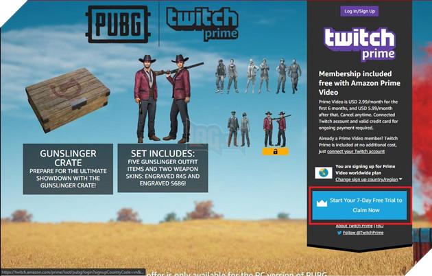 PUBG Hướng dẫn nhận set Gunslinger crate trên Twitch Prime hoàn toàn