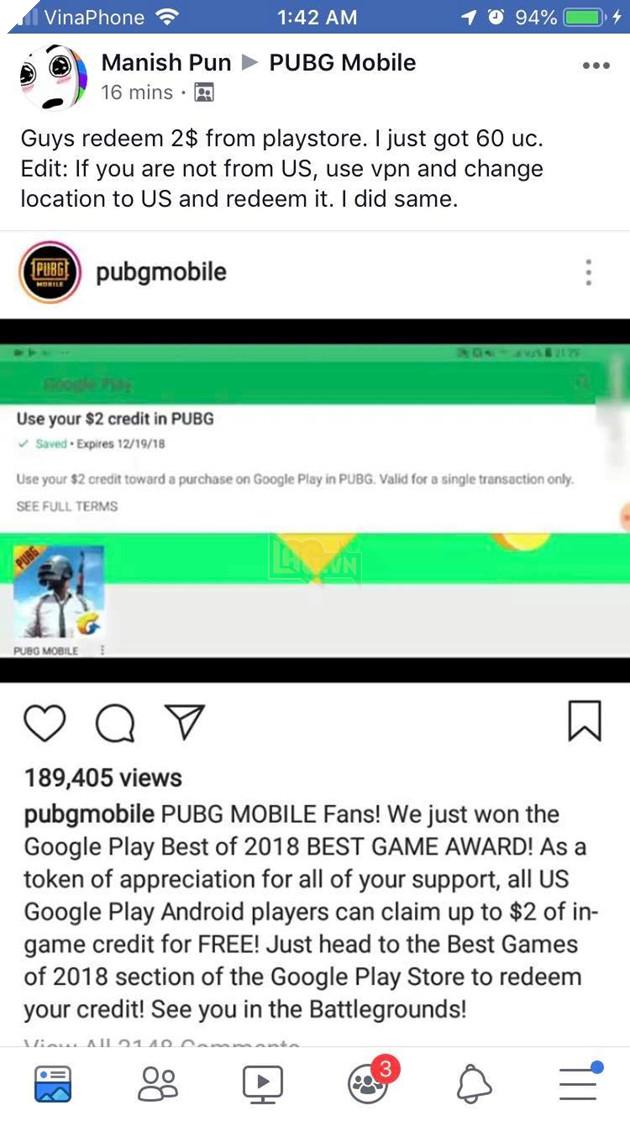 Ăn mừng chiến thắng, PUBG Mobile cho free người chơi $2 trên CH Play 2