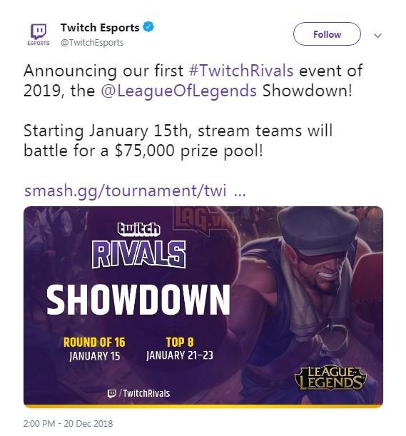 Twitch - Nền tảng Stream hàng đầu thế giới sẽ tổ chức một giải đấu LMHT của riêng mình vào đầu năm 2019 - Ảnh 2.