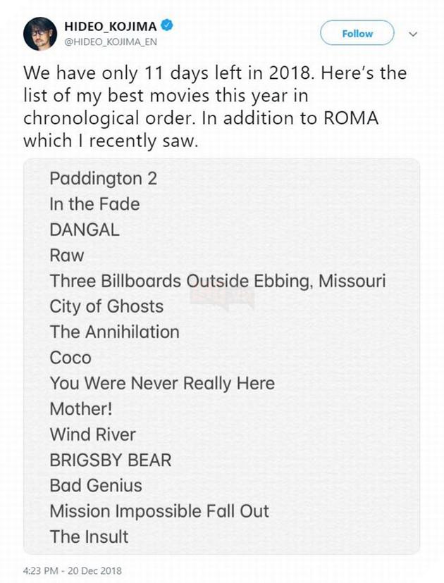 Danh mục phim Thánh Kojima thích xem trong năm qua, bạn có cùng sở thích không?