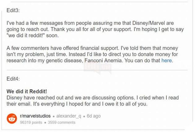 Avengers Endgame: Disney hồi đáp chiến dịch Reddit cho chàng trai bị ung thư 3