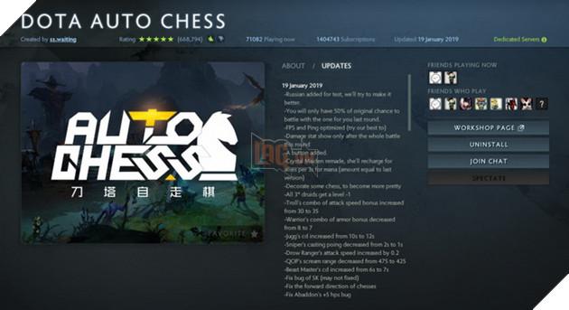 Màn hình cài đặt của Dota Auto Chess
