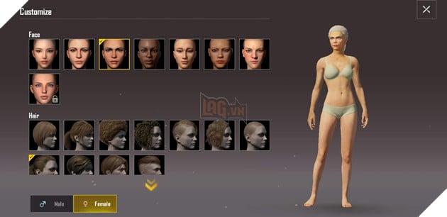 Tại đây bạn sẽ được lựa chọn kiểu gương mặt và kiểu tóc cho nhân vật cũng như giới tính (ở dưới cùng) nếu muốn. Ảnh chụp màn hình.
