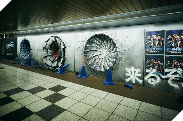 Luffy, Goku và Naruto đấm thủng tường ga tàu điện ngầm để quảng bá cho Jump Force 1