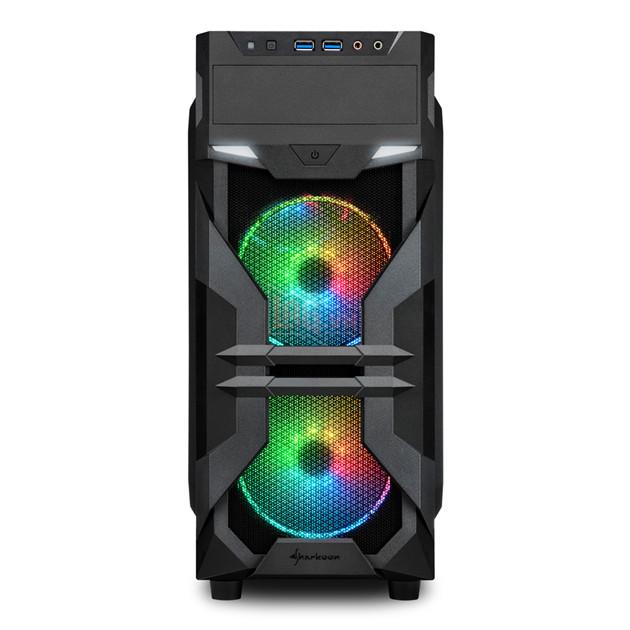 Sharkoon VG7-W RGB mặt trước với 2 quạt RGB. Nguồn: Sharkoon.