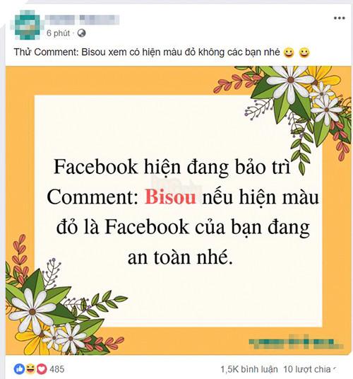 Trò lừa bình luận Bisou để kiểm tra tài khoản Facebook an toàn