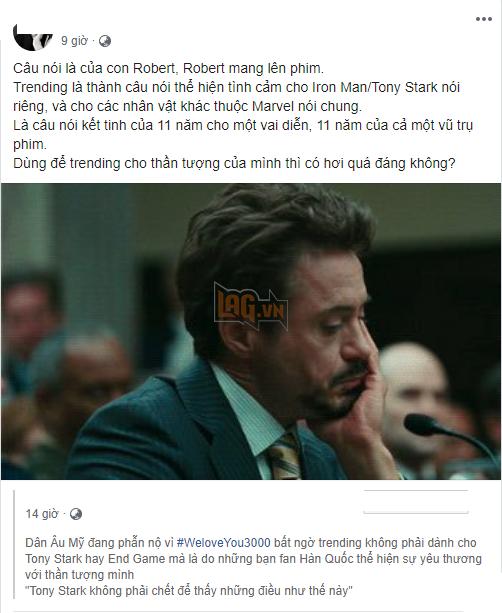 Câu nói kinh điển I love you 3000 của Tony Stark gây tranh cãi khi bất ngờ được trending cho người khác - Ảnh 1.